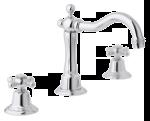 Traditioneller 3-Loch-Waschtischmischer mit Ablaufgarnitur in Chrom.