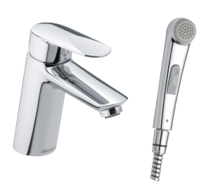 Clover Green Basin Mixer with sidespray and pop up waste (Chrome - Eco)
