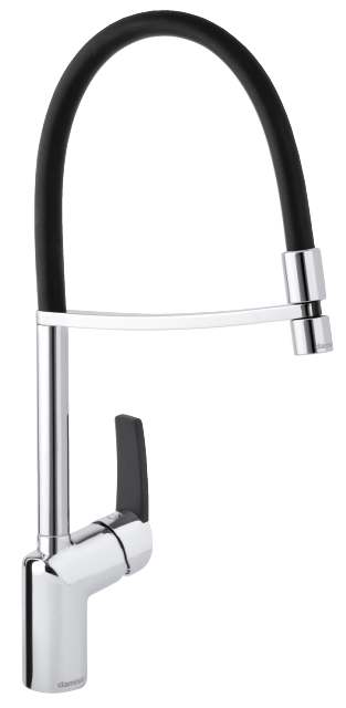 Slate pro kitchen mixer in chrome/black