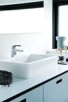 Slate Basin mixer in the surfaces chrome and Chrome/black